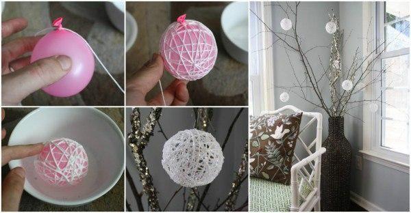 Как сделать снежные шары из ниток. - Дом, квартира, дача, огород, уют и быт
