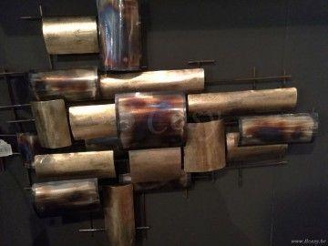 J-Line Wanddecoratie rechthoeken antiek goud metaal 90