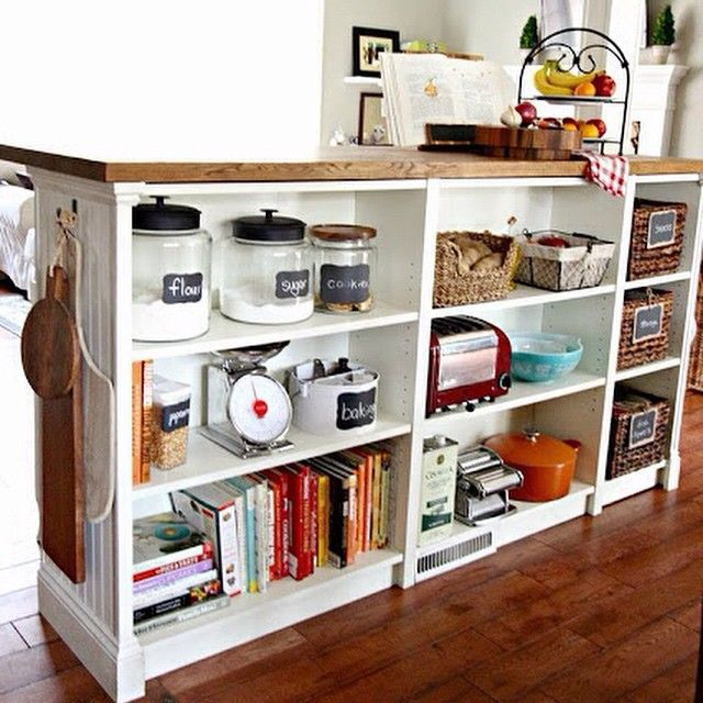 Kitchen Island From Ikea Bookcases The trim and butcher-block countertop  add gravitas to the lightweight shelving. For longevity s sake e88e19ee8a96a