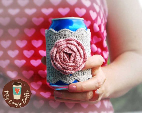 Coffee cozy Coffee sleeve Can cozy Crochet can cozy Cold drink cozy Gifts under…
