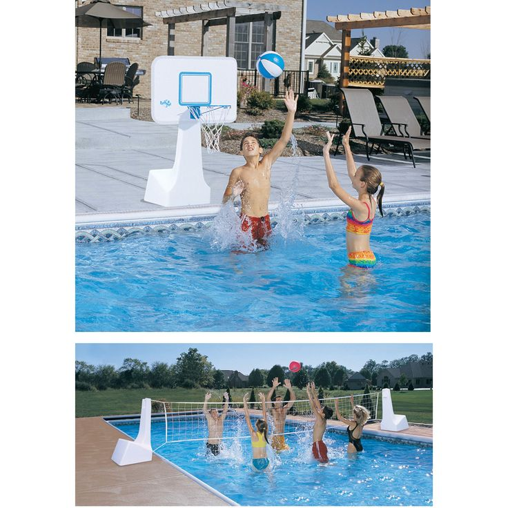 Dunn Rite PoolSport Portable Pool Basketball/Volleyball Set. A 2-in-1 set that converts between two games with no tools. Includes solid poly backboard measuring 31W x 22H in. Steel rim is 36 in. high and extends over the water. Two heavy-duty polyethylene water-filled stands. 16-in. net spans up to a 22-ft. pool.