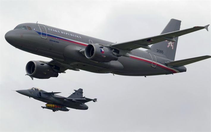 Download wallpapers Airbus A319CJ, transport aircraft, Czech Republic, Saab JAS 39 Gripen, fighter