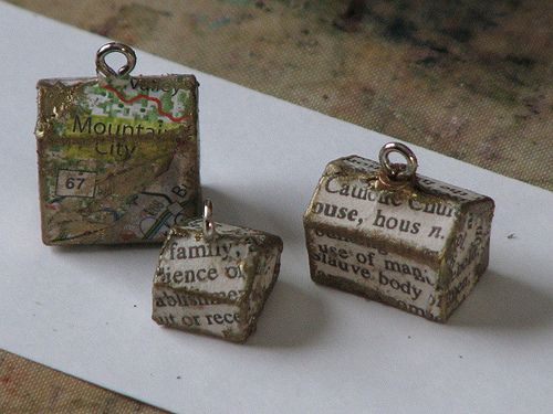 Altered Monopoly House / Hotel Charm: Crafts Ideas, Ink Stained, Monopoly House Hotels, House Hotels Charms, Altered Monopoly, Monopoly Charms, Crafty House, Diy Jewelry, House Charms