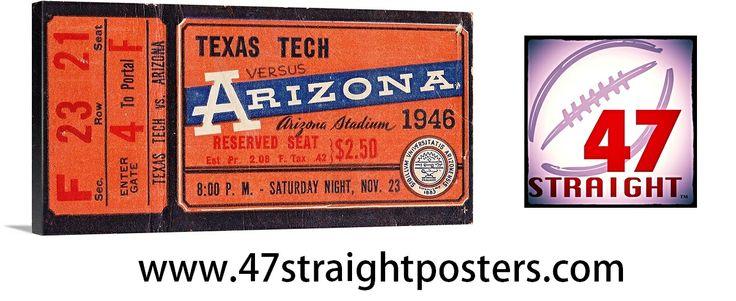 1946 Arizona vs. Texas Tech #football ticket art on canvas. #Arizona #Wildcats #TexasTech #collegefootball #sportsart #mancave #homedecor #47straight $199.99