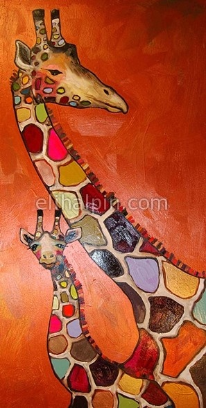 Giraffe Mother and Baby in Copper