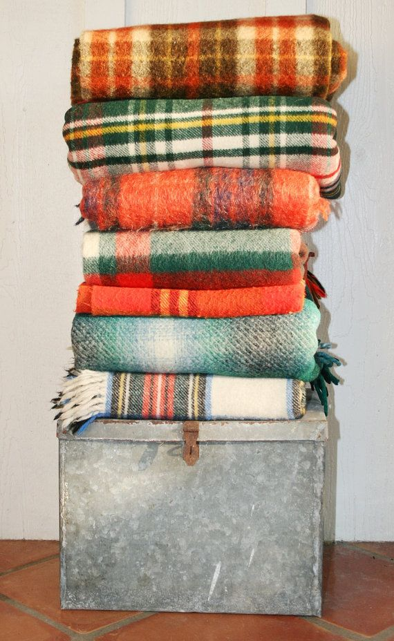 Puddles and Puddles of Plaid -3-  Cabin Camp Blanket - Connemara Wool Blanket - Made in Ireland