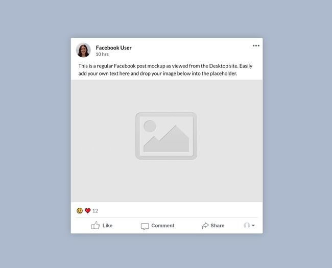 A Mockup Template Of A Regular Facebook Image Post Viewed From A Desktop Site Easily Add Your Own Profile Picture Mockup Social Media Mockup Mockup Template
