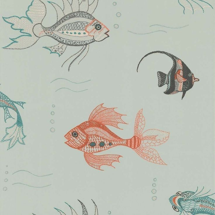 This striking and ebullient wallpaper transports you to the underworld beauty of the aquarium. A shoal of distinctive fish make this wall covering every bit as mesmerising as the more traditional water filled aquarium ... with much less maintenance. Delicate stitches are evident in this tapestry inspired pattern. The fanciful scene is available in four vibrant colourways, and brings a sense of fun into any bathroom, bedroom or other marine themed rooms. The largest of the fish swimming from…