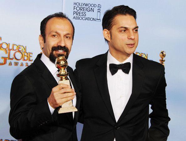Asghar Farhadi with Peyman Moadi - 69th Annual Golden Globe Awards - Press Room