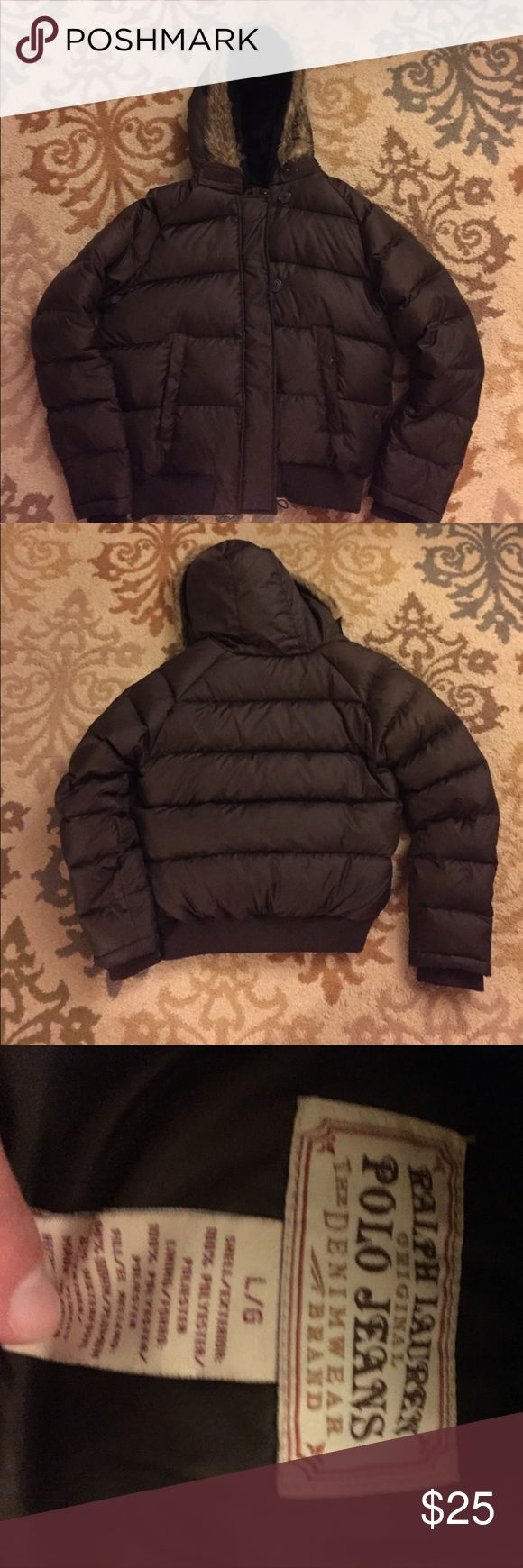 Ralph Lauren down puffer jacket with faux fur hood Ralph Lauren down puffer jacket with faux fur hood. Size Large. Wore 5 times at most. Polo by Ralph Lauren Jackets & Coats Puffers