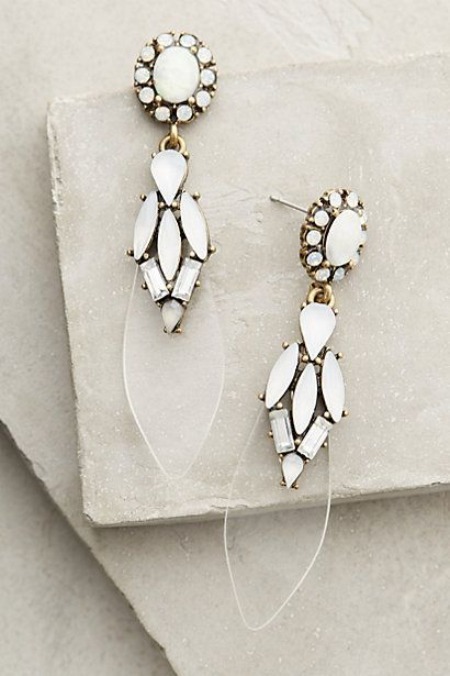 Modern wedding jewelry idea - white, graphic earrings idea for bride {Anthropologie}