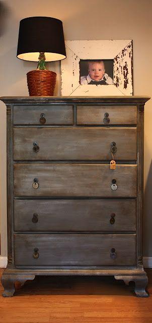 diy zinc-looking dresser redo