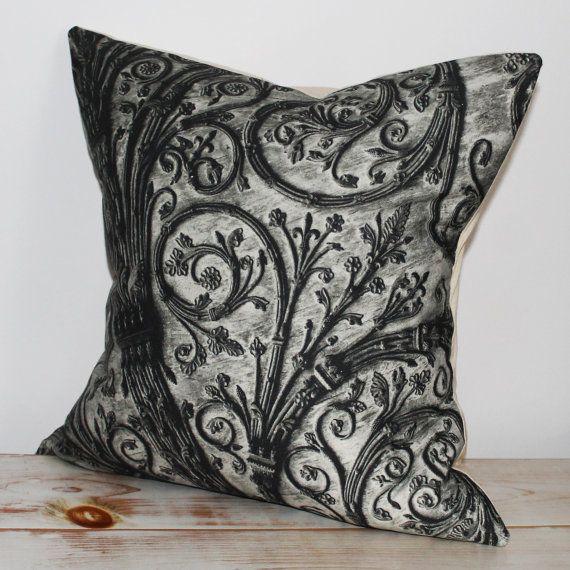 Decorative Pillow with black & white print inspired by  Paris and La Cathedrale Notre-Dame de Paris.