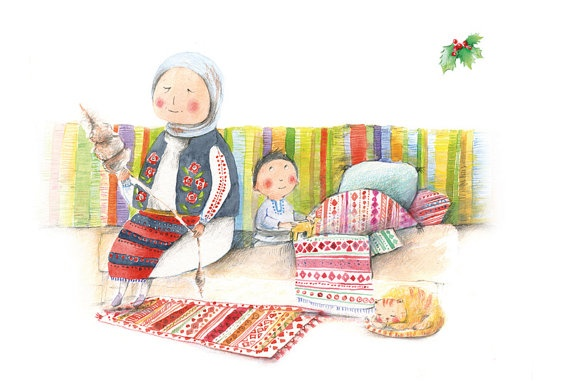 Postcard inspired by a romanian poem about Grandma.  Illustrated by Anca Sandu