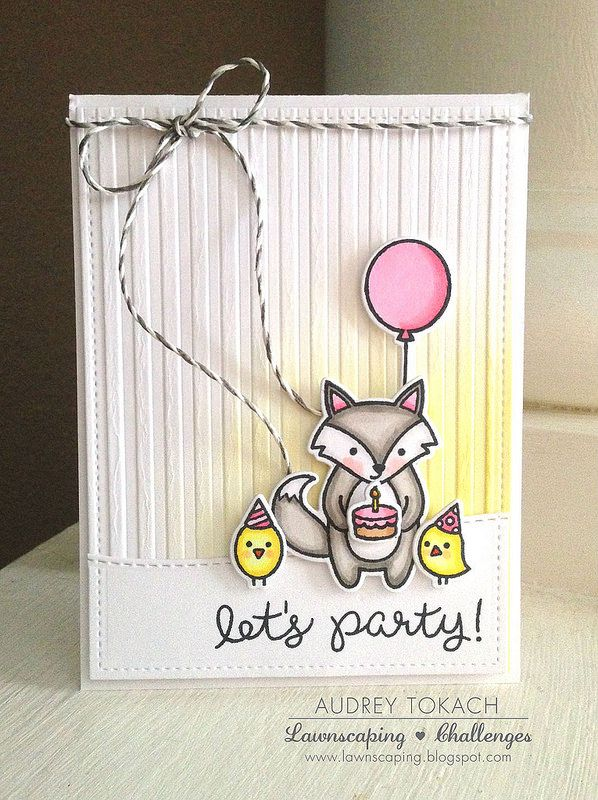 Lawn Fawn - Party Animal, Stitched Hillside Borders, Cloudy Lawn Trimmings _ beautiful Let's Party! card by Audrey (momma_audrey) via Flickr