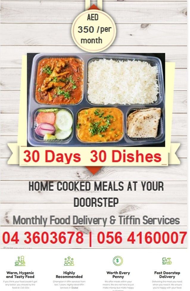 Indian Home Made Food Tiffin Meals Service In Dubai In 2020