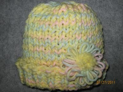 Twisted Knit Stitch Round Loom : Childs hat with flower Free Loom Knit Patterns & Instruction Pin...