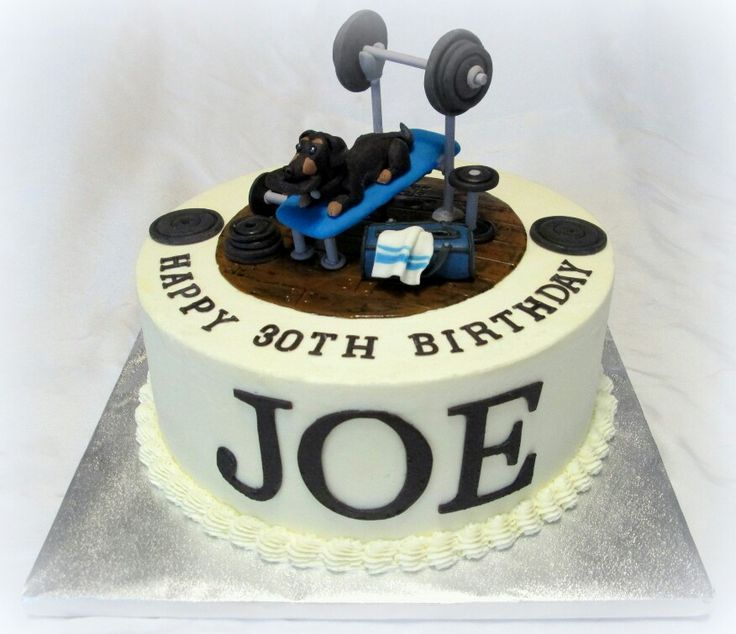 Birthday Cake For A Guy Who Loves Weightlifting, His Dog