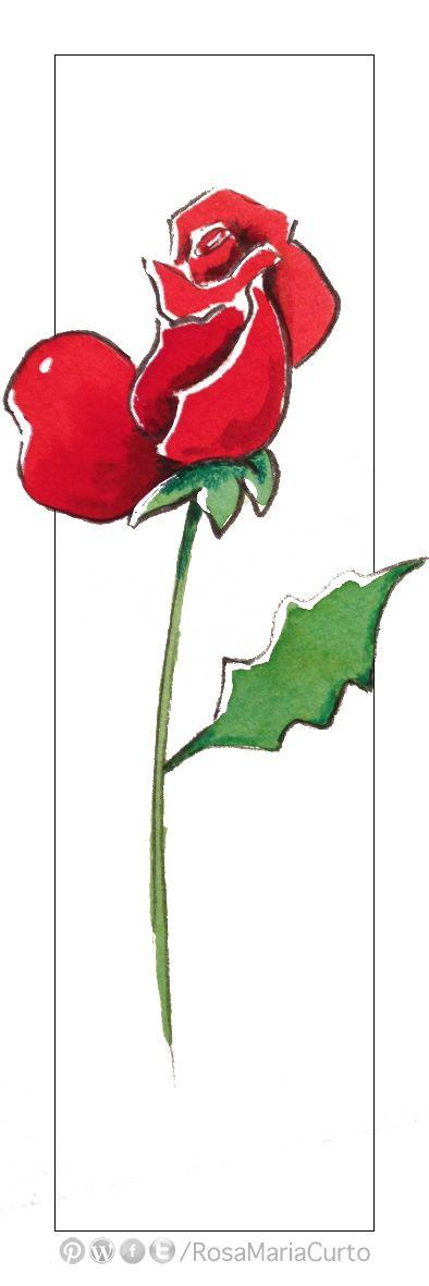 Punt de llibre amb rosa per a la Diada de Sant Jordi (by @RosaMariaCurto) #bookmarks #rose