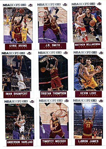 2015-16 Panini NBA Hoops Cleveland Cavaliers Veterans Team Set of 9 Cards: LeBron James, Timofey Mozgov, Anderson Varejao, Kevin Love, Tristan Thompson, Iman Shumpert, Matthew Dellavedova, J.R. Smith, Kyrie Irving in Protective Snap Case