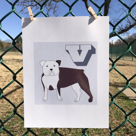 V is for Victorian Bulldog Print// dog wall by EganStreetDesign