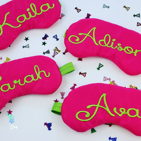 These Posh Party Favors are a creative way to thank your guests for celebrating with you in style. Perfect for Spa Party, Slumber Party, Sleepovers, Sweet 16 Each sleep mask in individually personalized in lime green with names in Lola Font on pretty hot pink satin. Please convo with your color requests if custom colors are preferred. Sleep Masks come bundled or you can add on satin bags. Please select the number of masks that you need in the drop down menu to view prices for sets of 6 or…