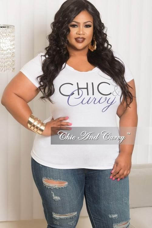 b982321243820 Final Sale Plus Size Short Sleeve Scoop Neck Chic   Curvy T-Shirt in White  and Purple