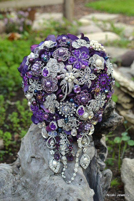 Cascading purple wedding brooch bouquet-- made to order  brooch bouquet