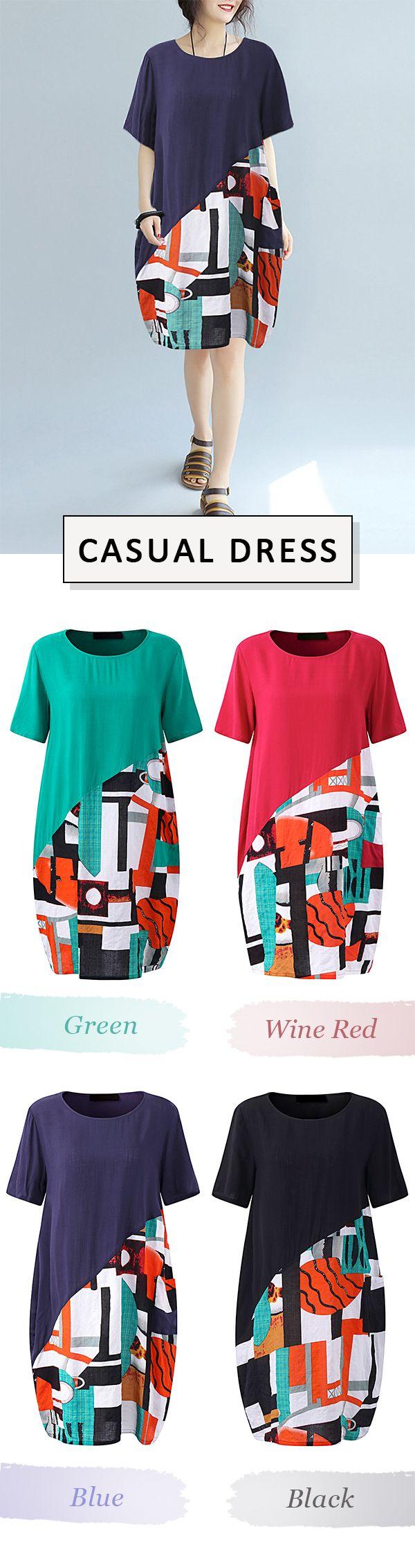 US$ 22.48 Gracila Casual Print Patchwork Short Sleeve O-neck Loose Dress For Women