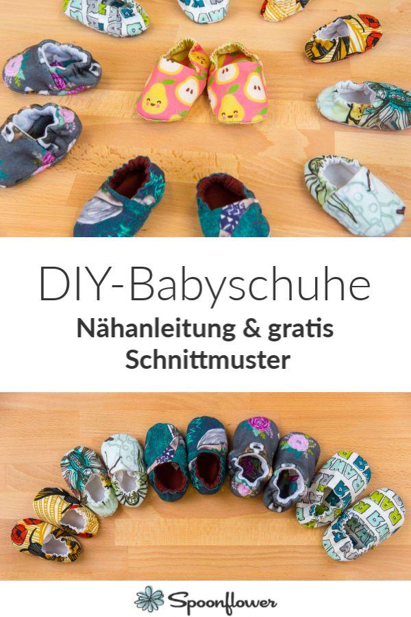 DIY Babyschuhe nähen für #nähanfänger #spoonfl…