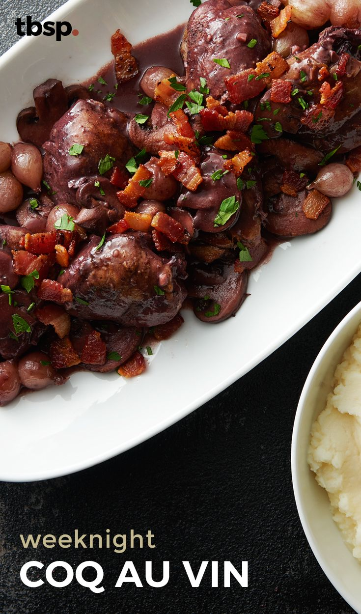 This simplified coq au vin delivers on all the flavors of chicken, mushrooms and pearl onions with a wine-infused sauce easy enough for a weeknight dinner.