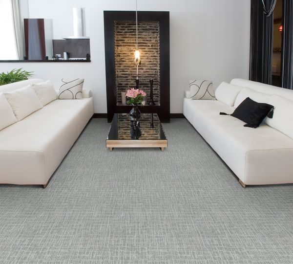 Light Grey Carpet With White Couches Simple Living Room A Hint Of Modern