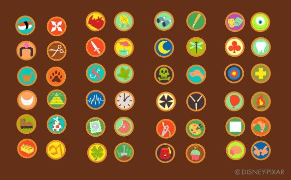 Here's the list of scout badges that were created for Up's Russel.