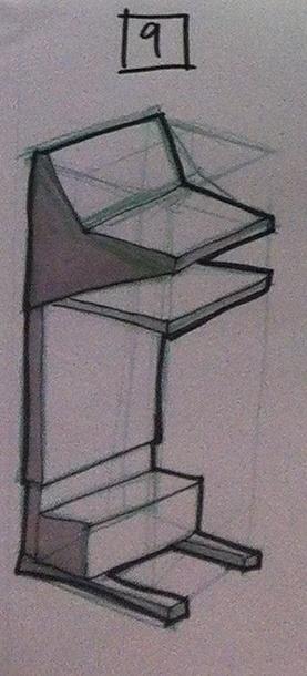 Small mobile presentation lectern: Rough concept 9