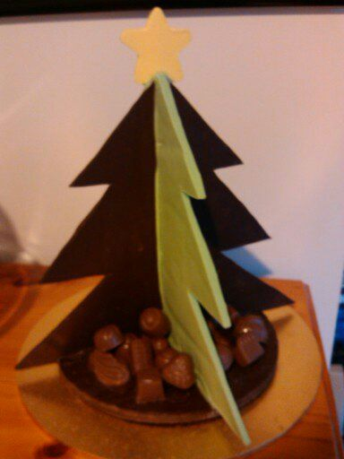 Chocolate Christmas tree with assorted chocolates as presents    - Compound Chocolate