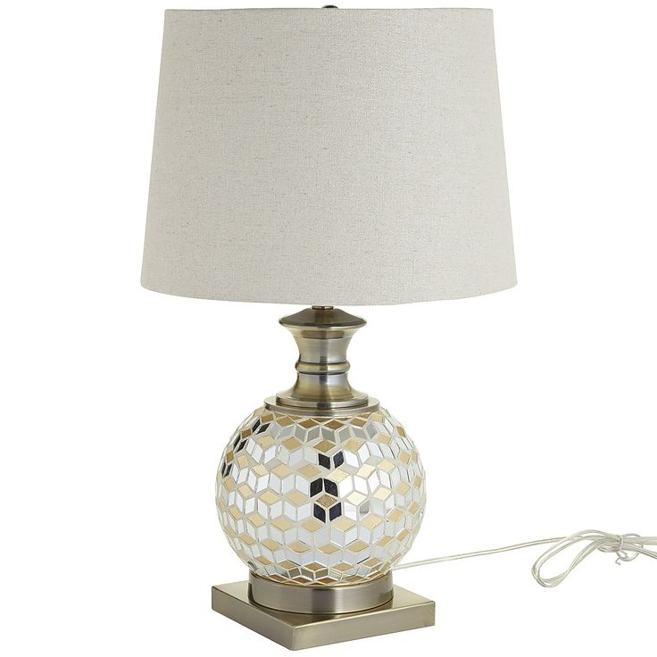 Multi colored mosaic sphere table lamp antique brass