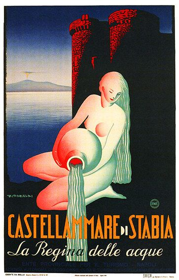 Castellammare di Stabia - Vintage Travel Poster - Poster Paper, Sticker or Canvas