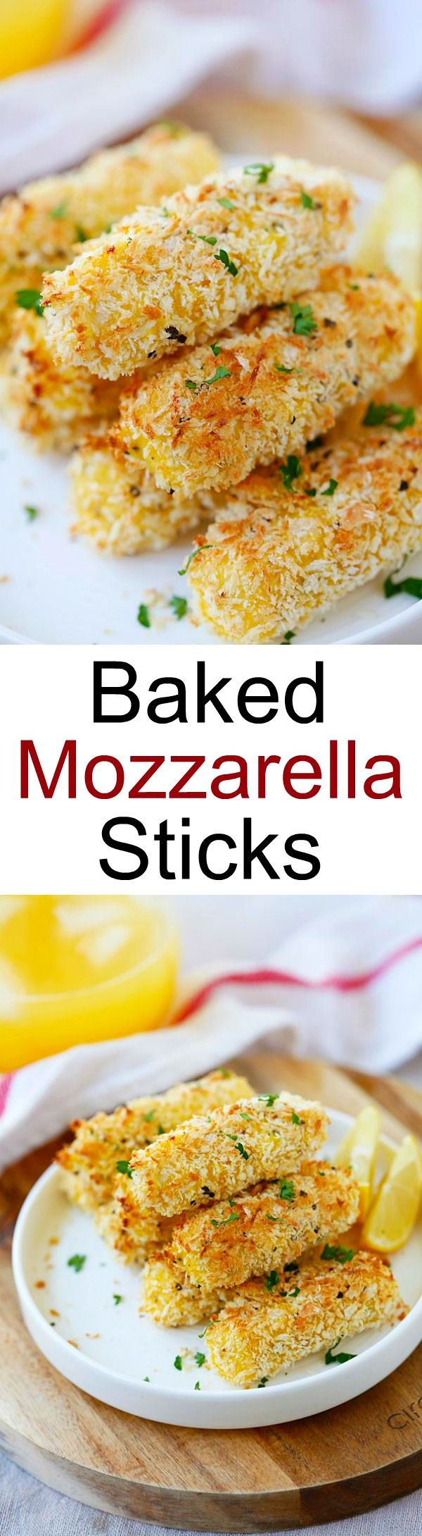 Baked Mozzarella Cheese Sticks – crispy cheese sticks coated with Japanese panko and baked to golden perfection. Easy peasy recipe that everyone loves | rasamalaysia.com