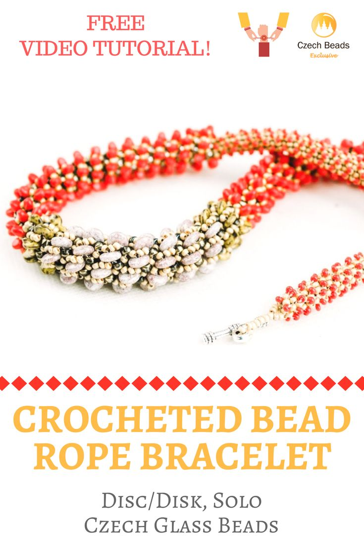 Disc/Disk, Solo Czech Glass Beads: Crocheted Bead Rope Bracelet Free Pattern Video Tutorial | SAVE it! | CzechBeadsExclusive.com #czechbeadsexclusive #czechbeads