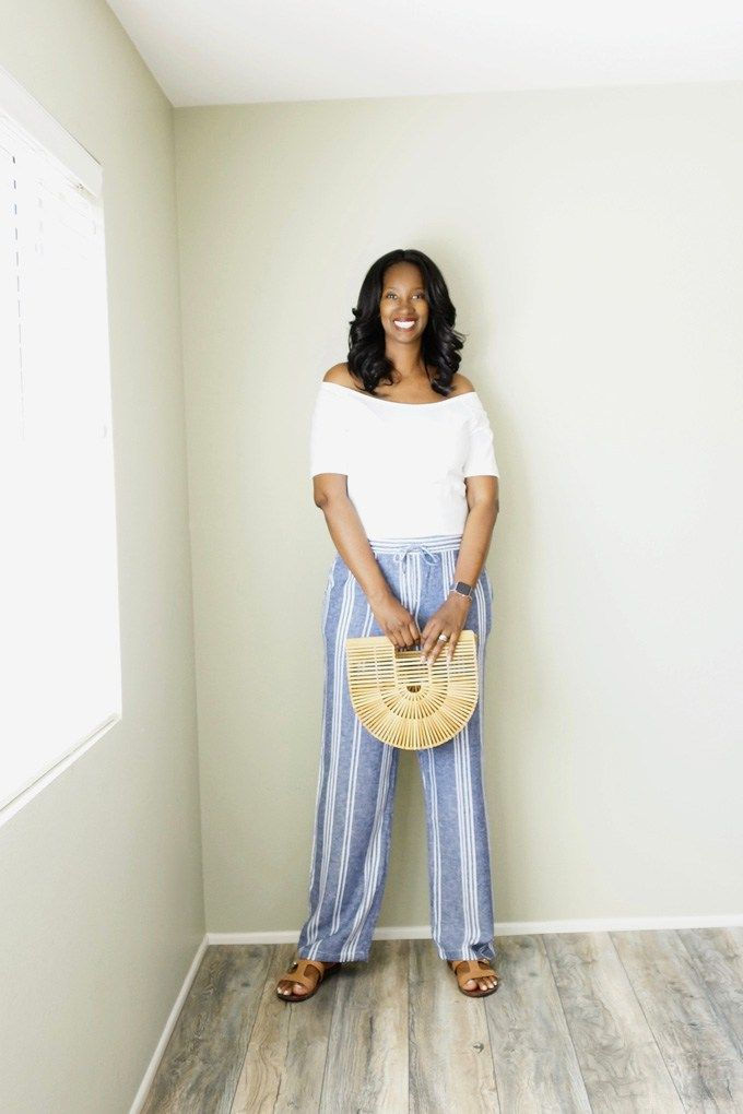 Pretty Tall Style - Tall Women's Fashion - Style Tips - DIY - Old Navy Tall Blue Stripe Wide Leg Linen Blend Pants