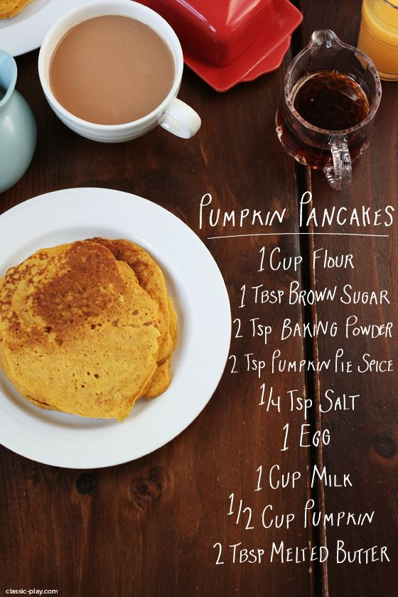 pumpkin pancake ingredients for Thanksgiving morning. Full recipe on Classic Play