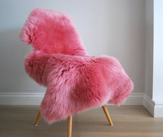 GORGEOUS! Barbie Pink Sheepskin Rug genuine Luxury Girly super thick soft Sheepskin Throw by Swedishdalahorse #TrendingEtsy