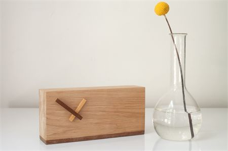 2 Tone Wood Clock: Simple modern contemporary clock Bedside or desk retro danish