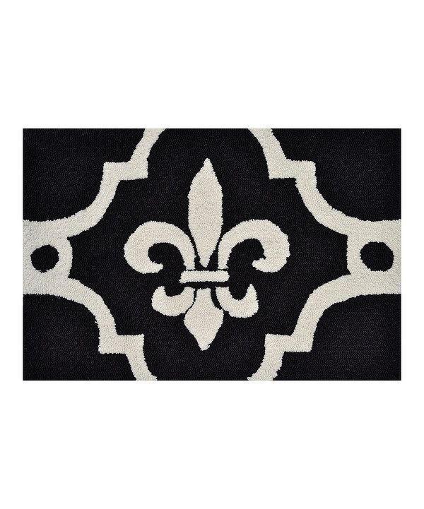 Black Amp White Fleur De Lis Rug Ps White Rug And Black