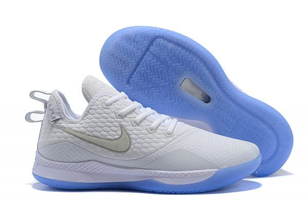 finest selection 502a8 93c5d Mens Nike Lebron Witness 3 White Metallic Silver Shoes-4