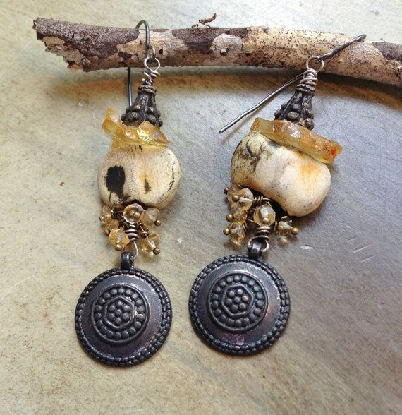 Bohemian Funk Handmade Artisan Earrings by SheriMalleryHandwork