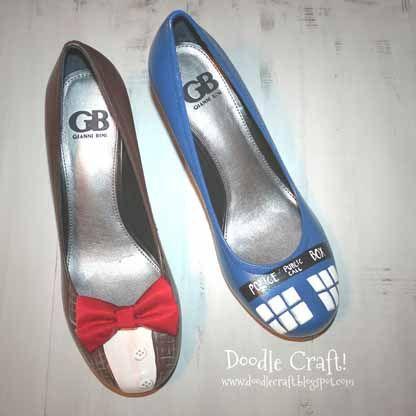 Doctor Who Heels Doodle Craft - Kanskje jeg også skal dekorere noen gamle sko, så de blir nye og stilige igjen? :P