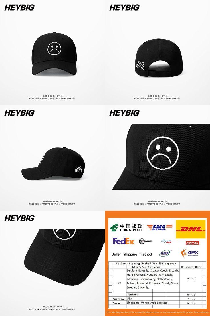 [Visit to Buy] Sad Boys Adjustable Hat crying face Baseball cap Hip hop Heybig Headwear Black Harajuku Skateboard Hats Curve Brimmed golf Caps #Advertisement