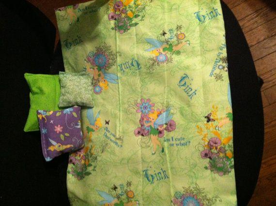 Tinkerbell green  18 doll bedding