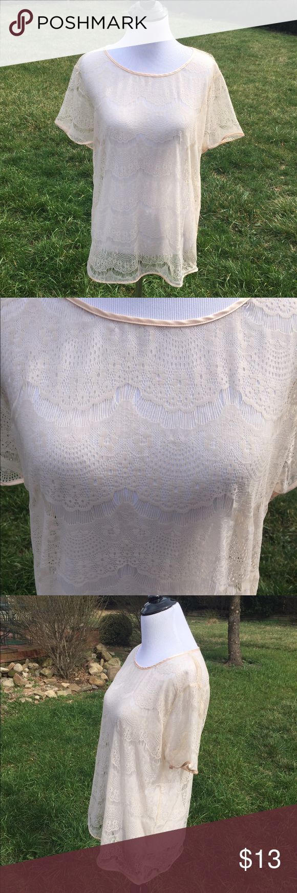 American Apparel Cream Lace Top Cream sheer lace top from American Apparel, size medium/large. I typically wear a medium and I think it fits a medium best. Top is sheer so I wore a cream cami underneath. Good condition, only worn a few times. American Apparel Tops Blouses